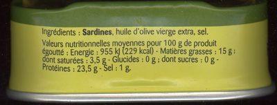 Sardines à l'huile d'olive vierge extra - Informations nutritionnelles