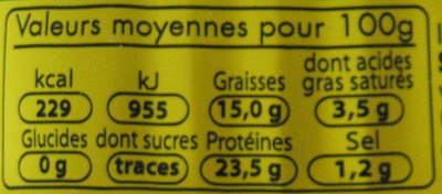 Sardines (Huile d'olive & Basilic) - Nutrition facts - fr