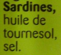 Sardines (Huile de Tournesol) - Ingrediënten