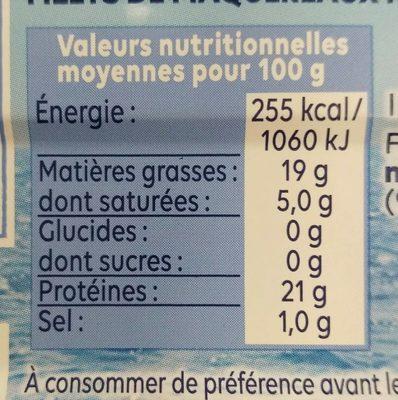 Filets de maquereaux vapeur nature - Informations nutritionnelles