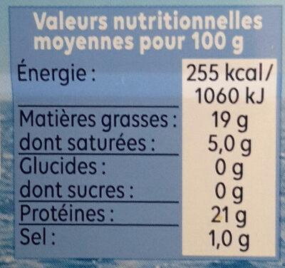 Filets de maquereaux Vapeur Nature - Informations nutritionnelles - fr