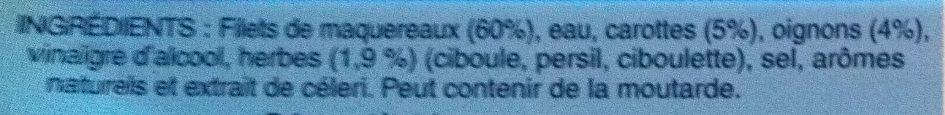 Filets de Maquereaux au court bouillon - Ingrédients - fr