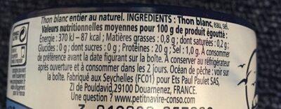 Thon blanc au naturel Germon - Ingredienti - fr