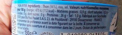 Thon vapeur nature - Informations nutritionnelles - fr