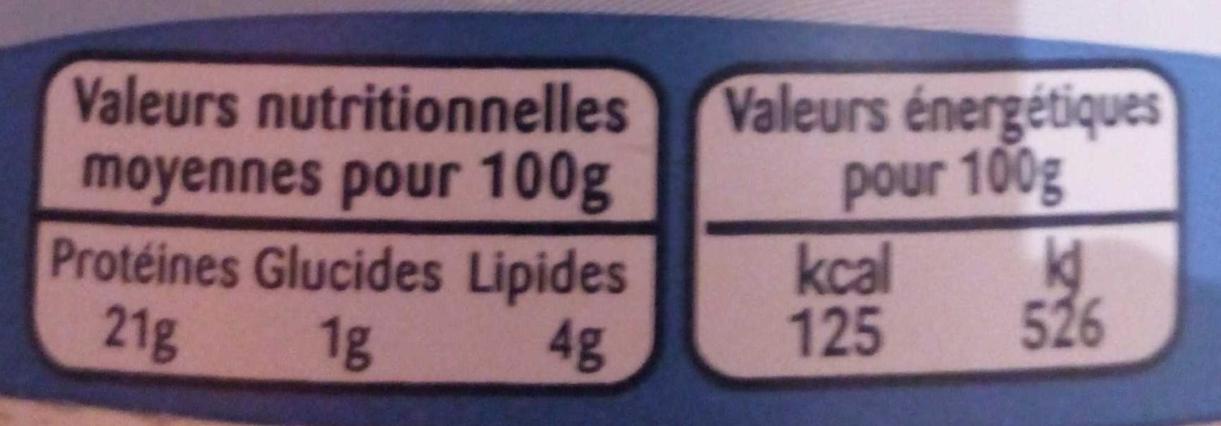 Thon court-Bouillon - Nutrition facts - fr