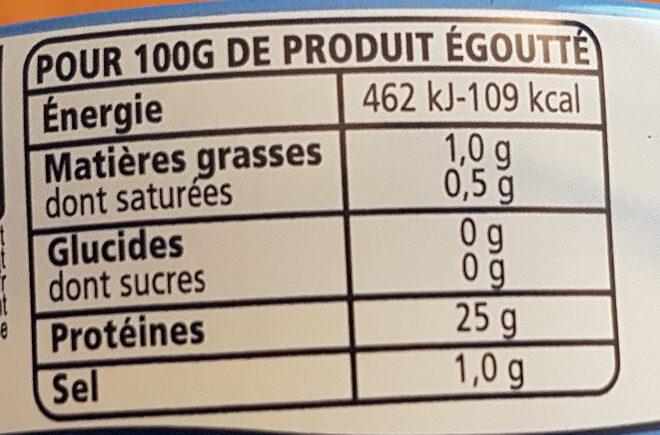 Thon entier au naturel Albacore - Nutrition facts - fr