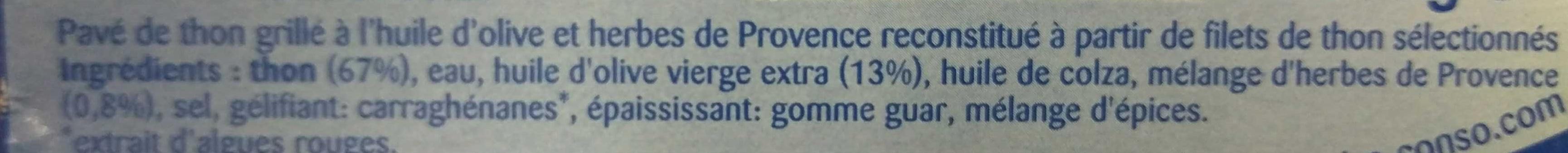 Pavé de Thon Grillé Huile d'olive et aux Herbes de Provence - Ingrédients - fr