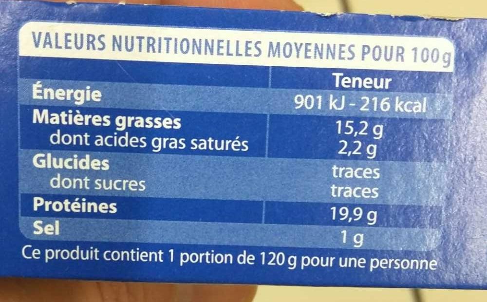 Pavé de Thon Grillé Huile d'olive et aux Herbes de Provence - Informations nutritionnelles - fr