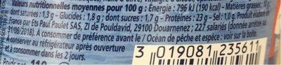 Thon mariné tomates séchées - Nutrition facts - fr