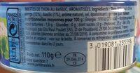 Emietté de thon Le Mariné basilic - Nutrition facts - fr