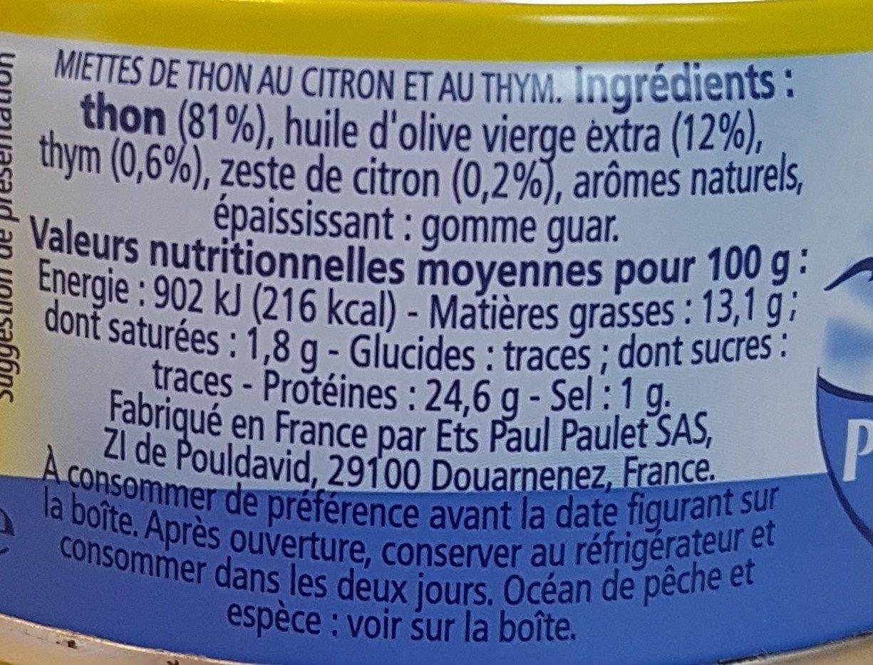 Emietté de thon Le Mariné citron & thym - Ingrédients - fr