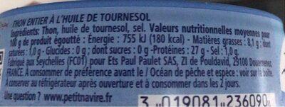 Thon entier à l'huile de tournesol - Valori nutrizionali - fr