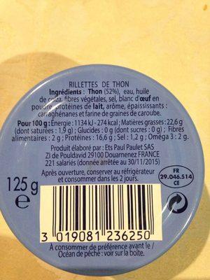 Rillettes de Thon - Información nutricional