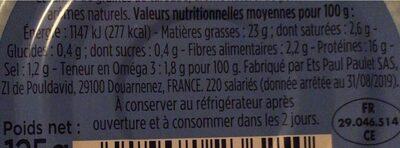 Rillettes de Thon - Información nutricional - fr