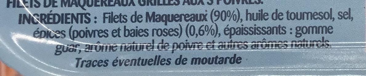 Filets de Maquereaux  Grillé aux 3 Poivres - Ingrediënten - fr
