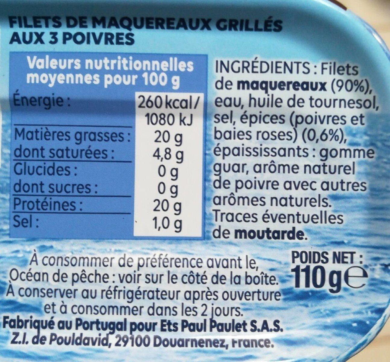 Filets de Maquereaux  Grillé aux 3 Poivres - Voedingswaarden - fr