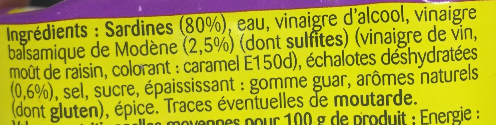 Sardines (Marinade Vinaigre balsamique & Échalote, Sans Huile) - Ingrediënten - fr
