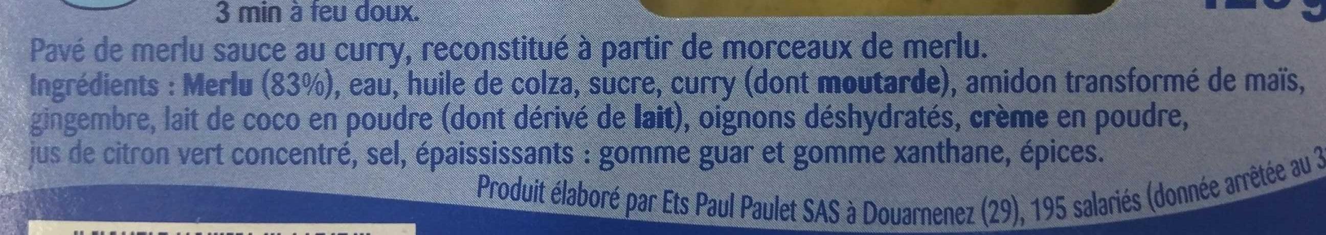 Pavé de Merlu au curry - Ingrédients