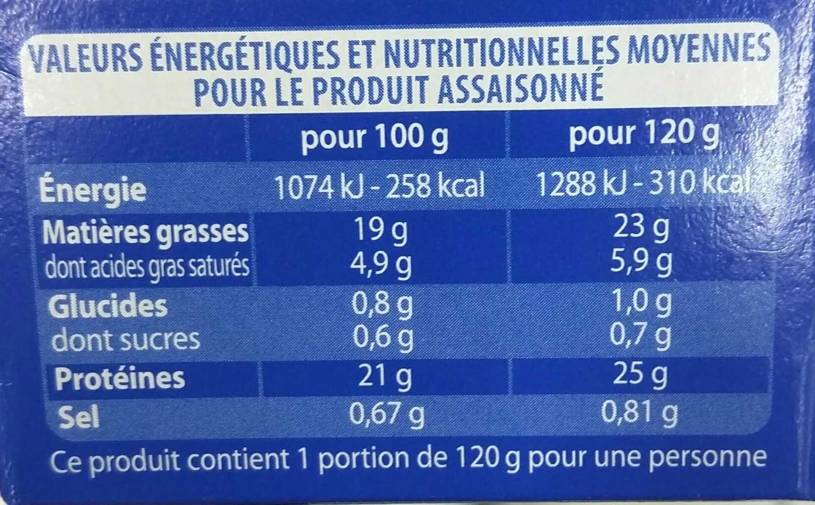 Filets de Maquereaux à Poêler - Informations nutritionnelles - fr