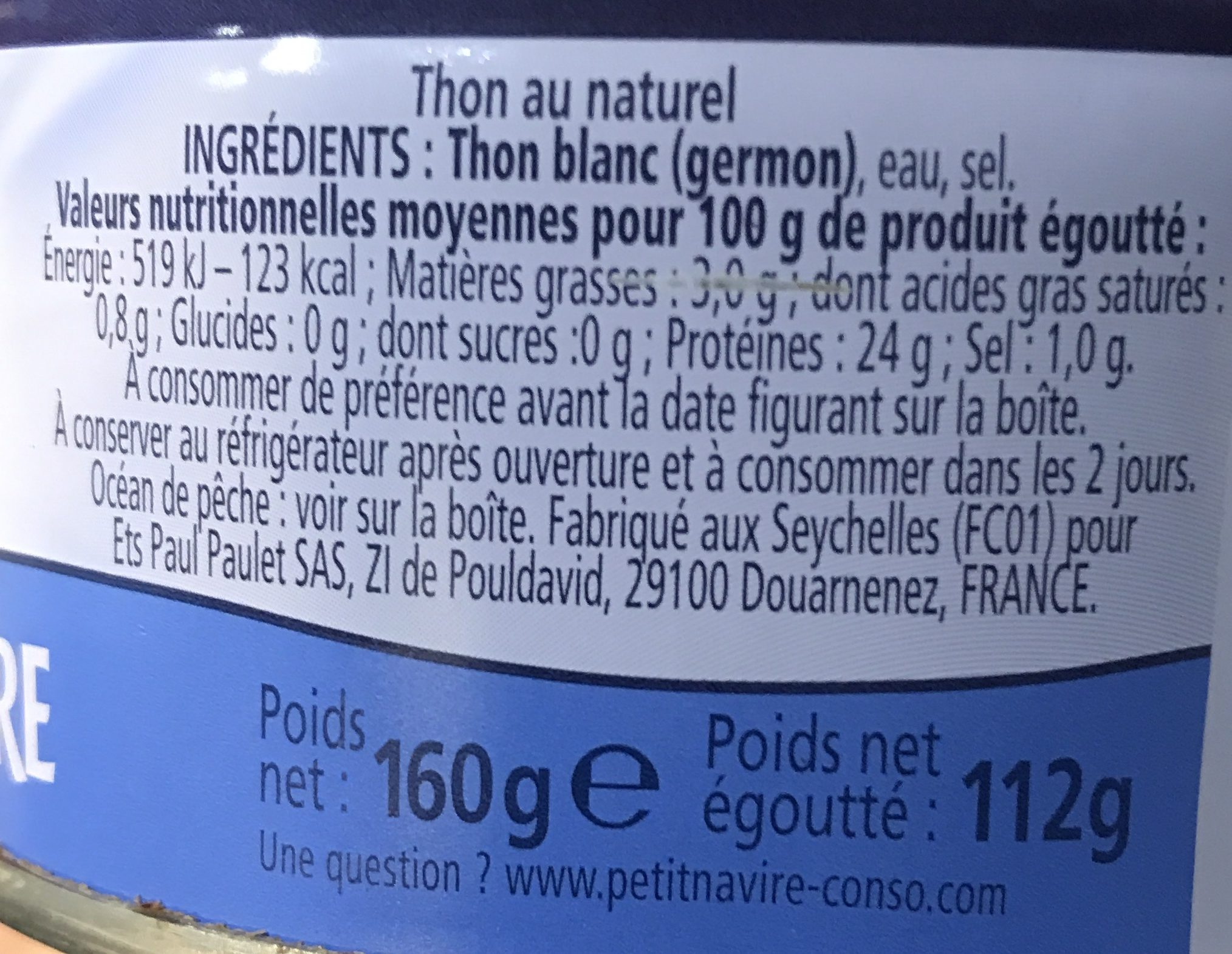 Thon entier au naturel Albacore - Ingredienti - fr