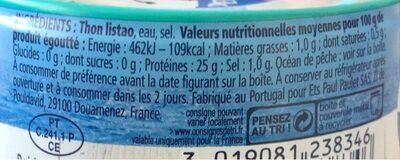 Miettes de thon listao - Informations nutritionnelles