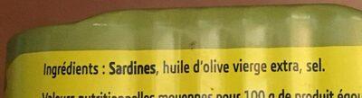 Sardines à l'huile d'olive - Ingredients - fr