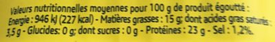 Conserverie sardines - Nutrition facts