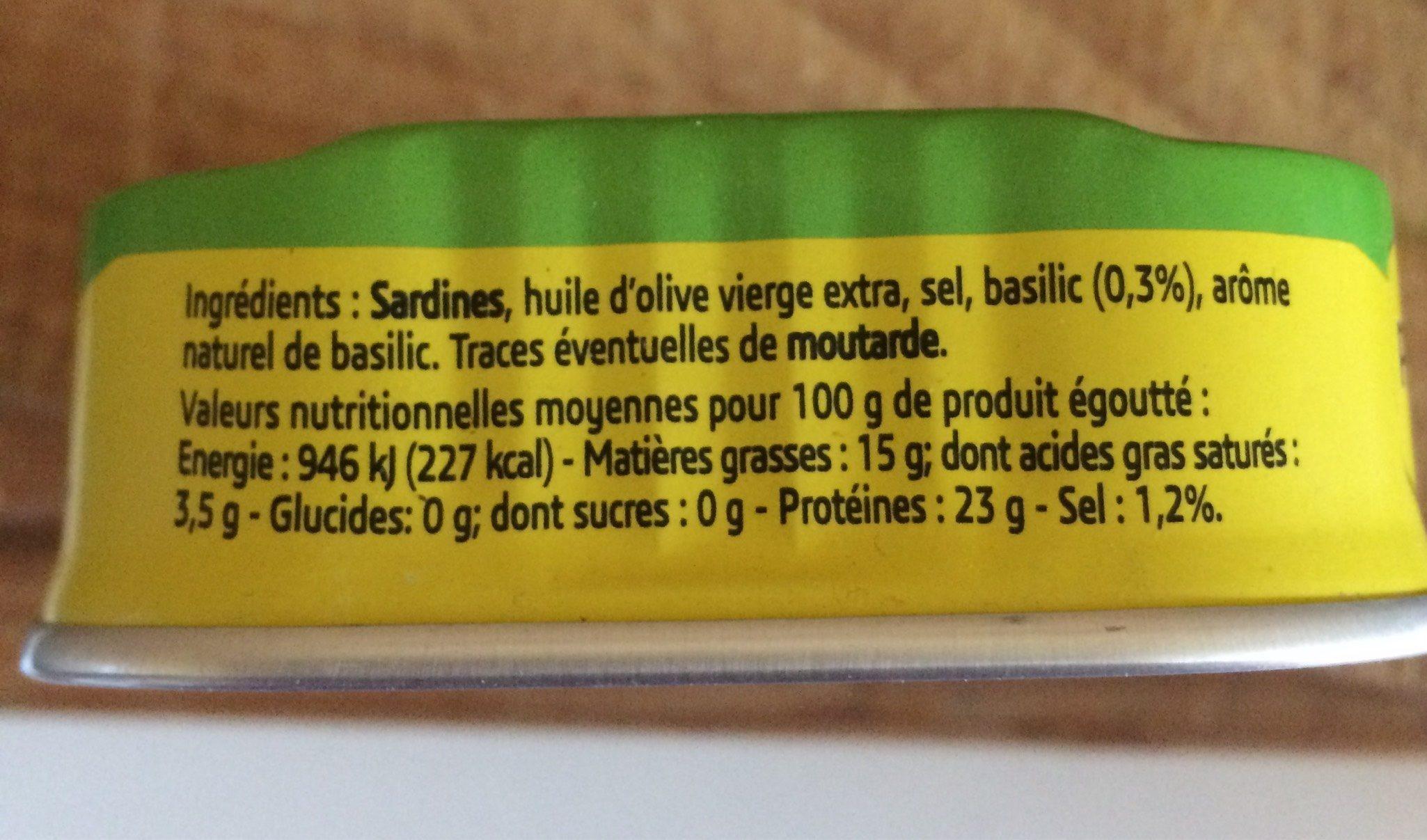 Sardines Huile d'olive et basilic - Informations nutritionnelles