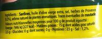 Sardines à l'huile d'olive et herbes de Provence PARMENTIER - Informations nutritionnelles