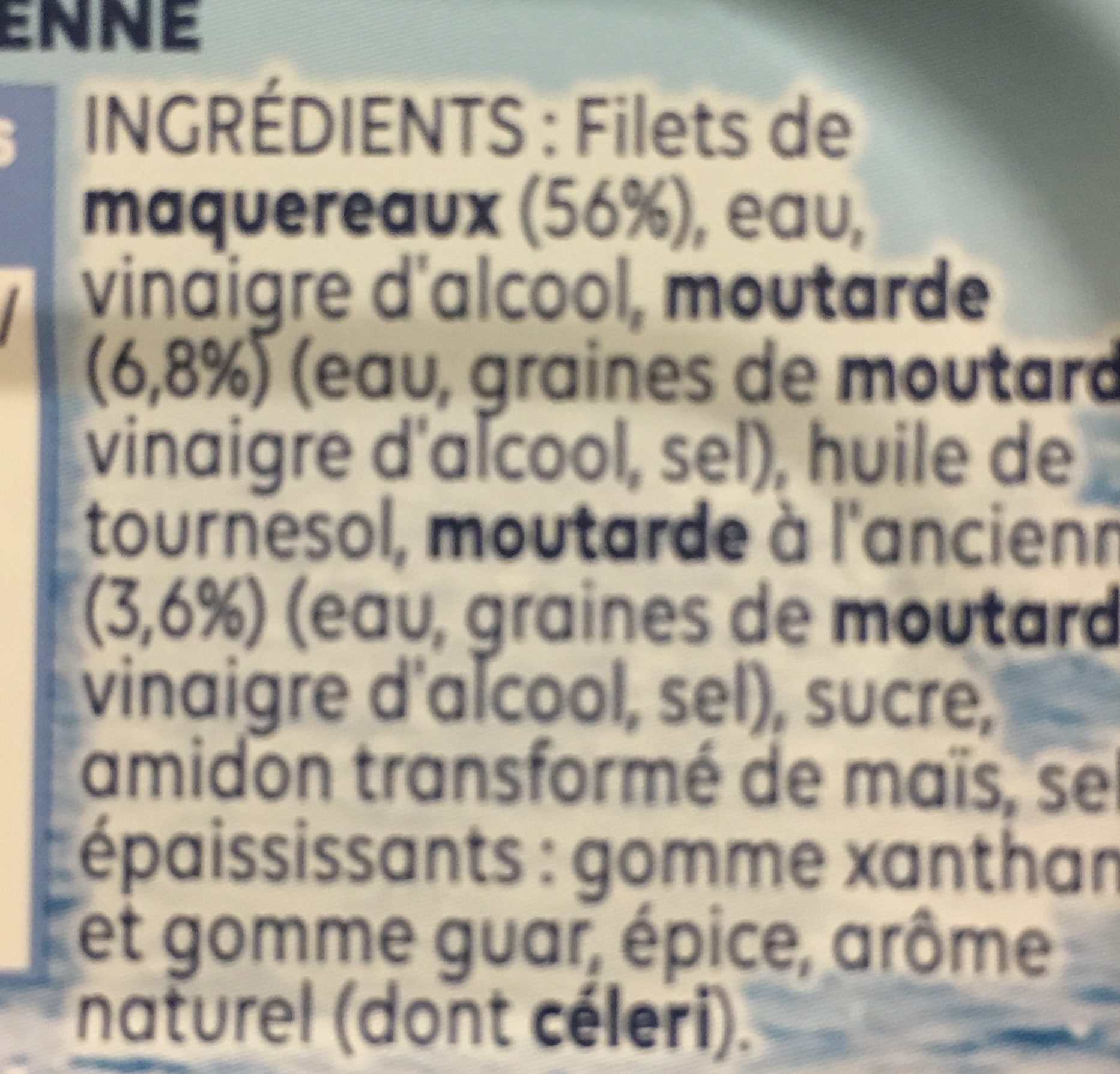 Filets de Maquereaux Moutarde à l'ancienne - Ingredienti - fr