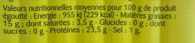 sardines huile d'olive vierge extra - Nutrition facts