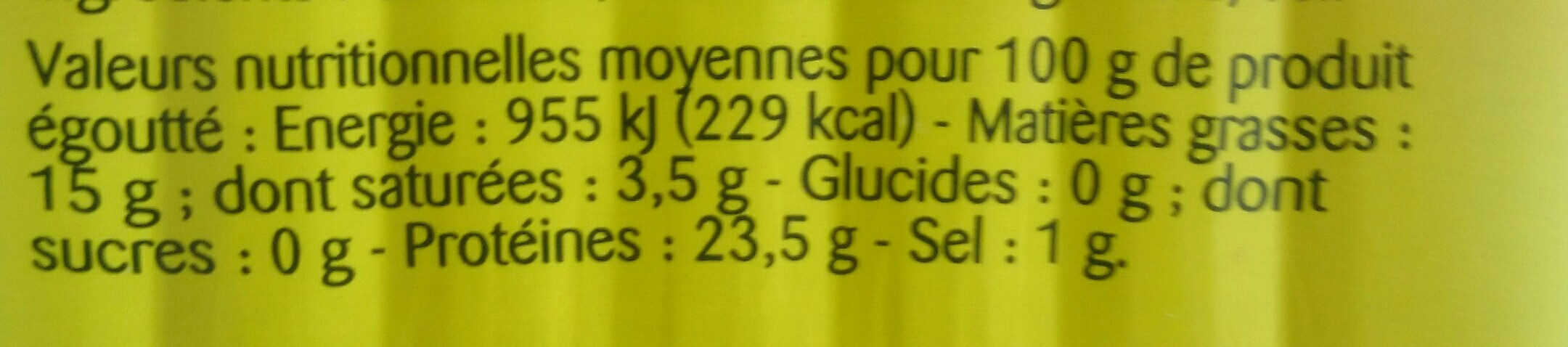 sardines huile d'olive vierge extra - Nutrition facts - fr