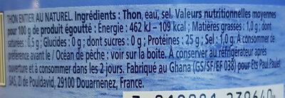 Albacore - Thon entier au naturel - 栄養成分表 - fr
