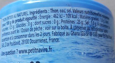 Thon entier au naturel - Nutrition facts - fr
