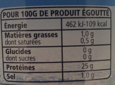 Albacore - Thon entier au naturel - Valori nutrizionali - fr