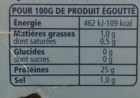 Thon entier au naturel Albacore - Valori nutrizionali - fr