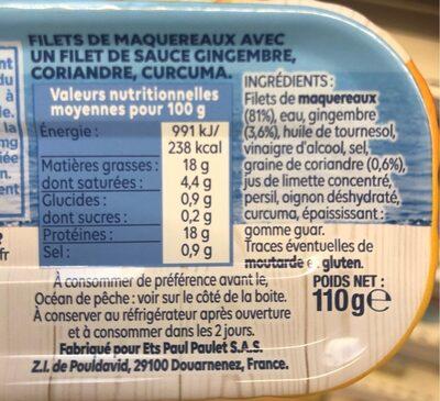 Filets de maquereaux cuisson vapeur - Informations nutritionnelles - fr