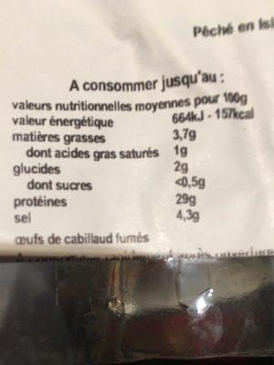 Oeufs de cabillaud fumés - Ingredients
