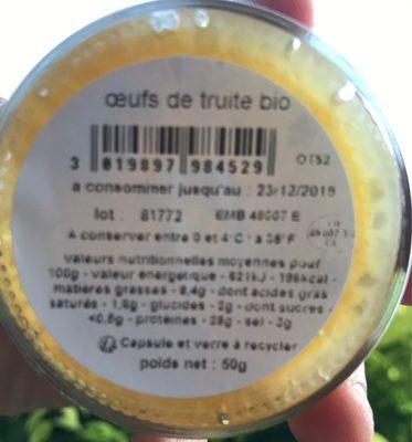 Oeufs de truite biologiques - Ingrédients - fr