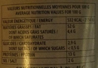 Tarama à la truffe noire 1% - Nutrition facts