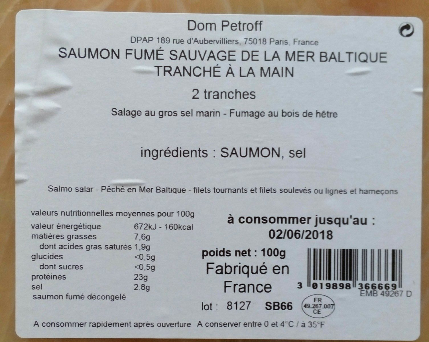 Saumon fumé sauvage de la mer Baltique tranchée à la main - Ingredients - fr