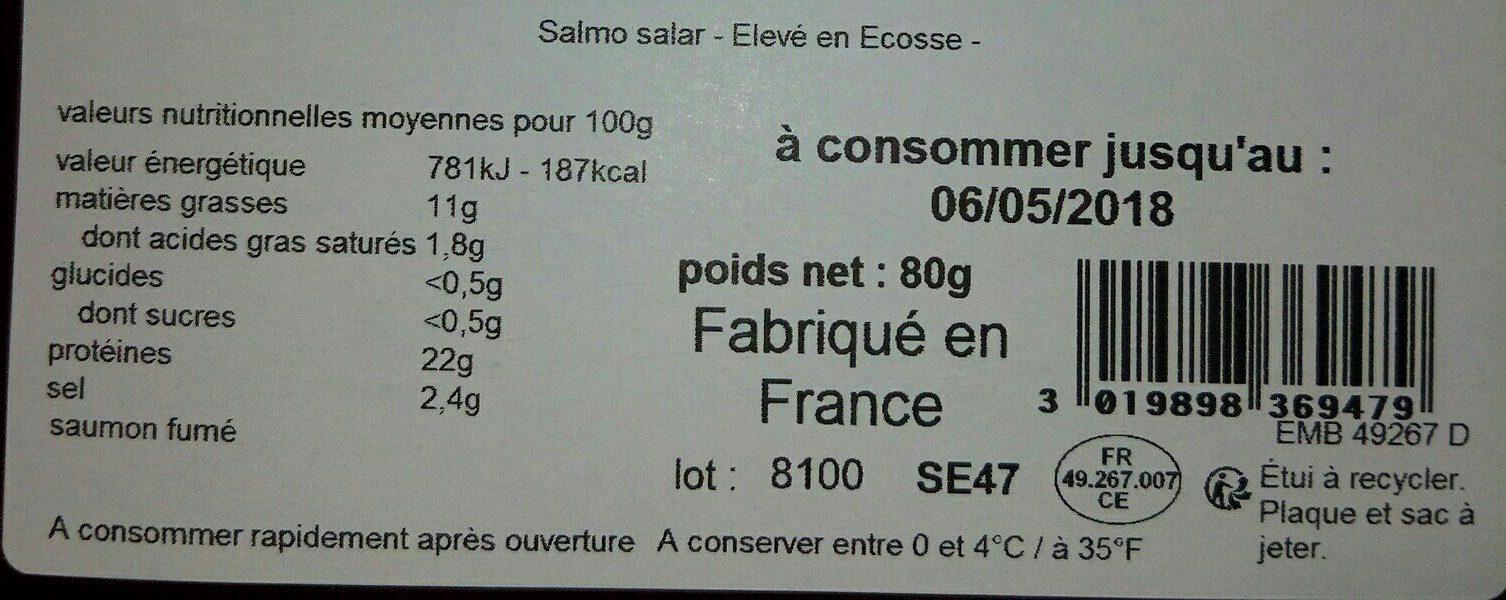 Saumon fumé écossais - Ingredients - fr
