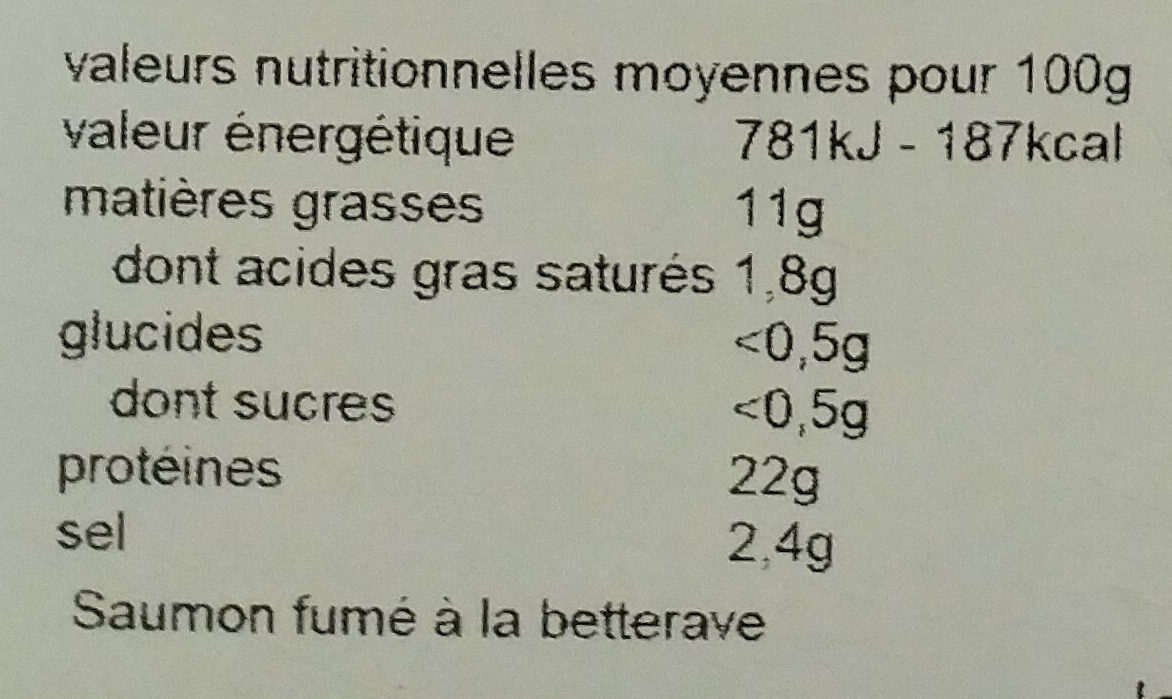 Coeur de saumon fumé betterave - Nutrition facts - fr