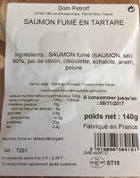 Saumon fumé en tartare - Nutrition facts - fr