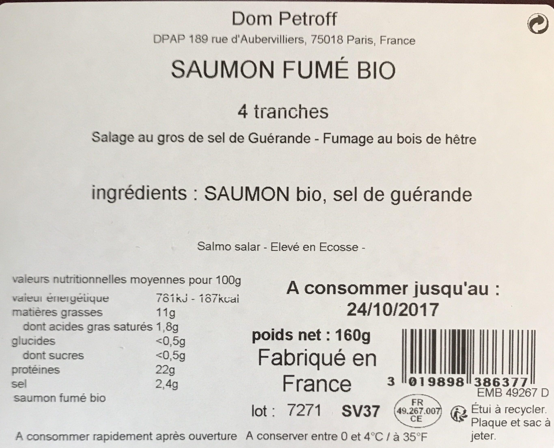 Saumon fumé Bio 4 tranches - Ingrediënten