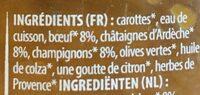 Poêlée forestière, fondant de boeuf aux châtaignes - Inhaltsstoffe - fr