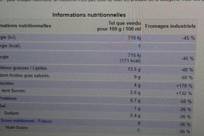 Pur chèvre - Informations nutritionnelles - fr