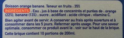 Jus orange banane - Ingredients