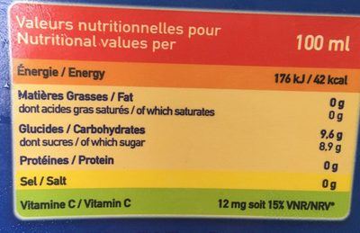 Jus orange banane - Nutrition facts
