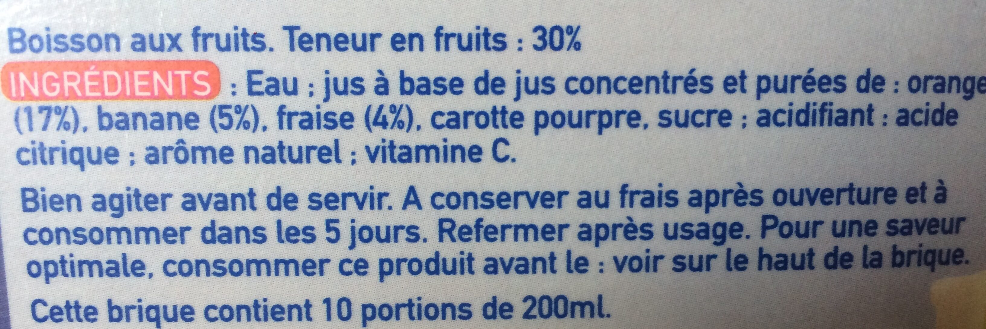 Rea orange banane cerise - Ingrédients